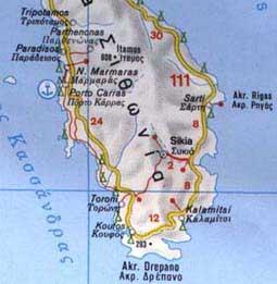 athos griechenland karte und